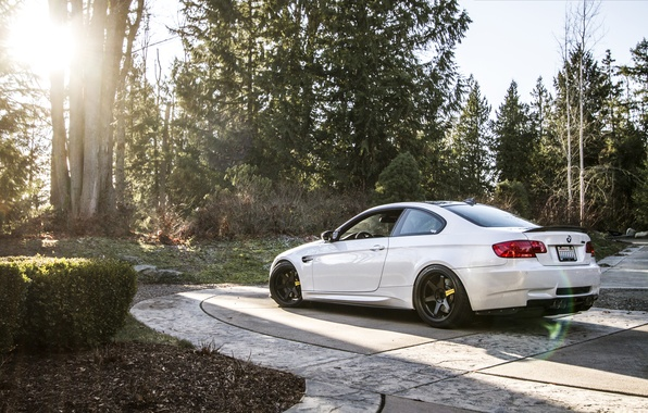 Picture BMW, White, BMW, Lights, Drives, White, E92, Back