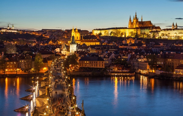 Picture bridge, the city, lights, river, people, view, building, home, Prague, Czech Republic, lighting, lights, panorama, …