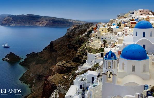 Picture city, lights, evening, buildings, homes, Santorini, Oia, Greece, dome, church, Aegean Sea