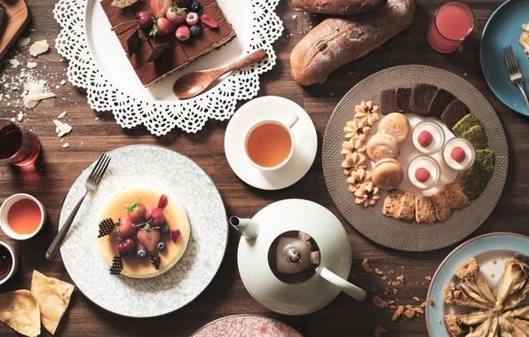 Picture berries, tea, pie, cake, cake, dessert, cuts