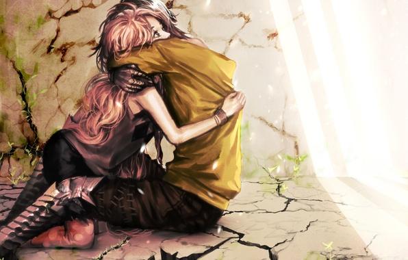Picture girl, light, love, cracked, wall, plants, art, floor, guy, hug, genki-de