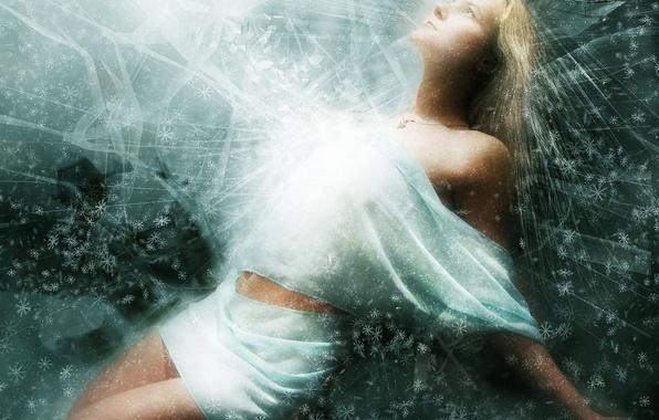 Picture snowflakes, glow, Treatment