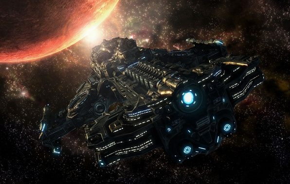 Picture space, stars, planet, starcraft 2, spaceship
