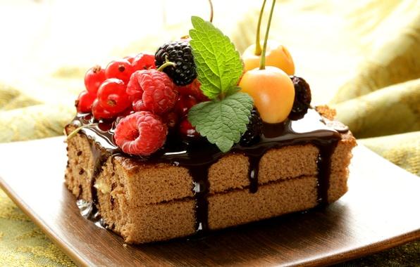 Picture berries, raspberry, chocolate, cake, cake, mint, dessert, currants, cherry, BlackBerry, sweet, glaze