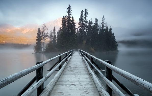 Picture bridge, fog, Canada, Pyramid Island