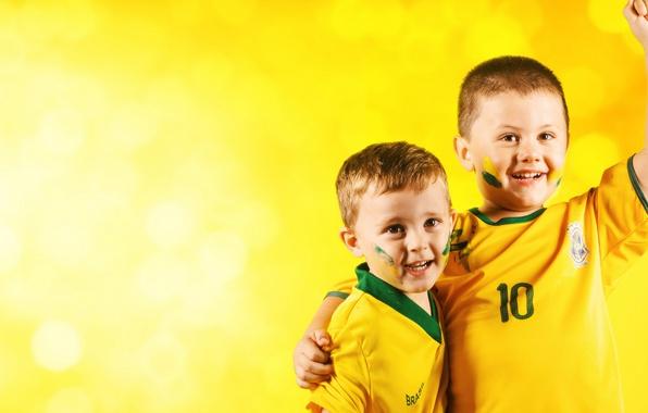 Picture wallpaper, happy, smile, football, Brazil, fans, kids