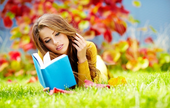 Picture autumn, grass, leaves, girl, Park, book, brown hair