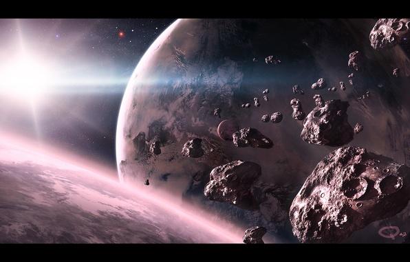 Picture space, star, planet, art, meteorites, QAuZ