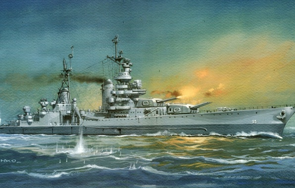 Picture sea, fire, smoke, figure, shots, WW2, breaks, heavy cruiser