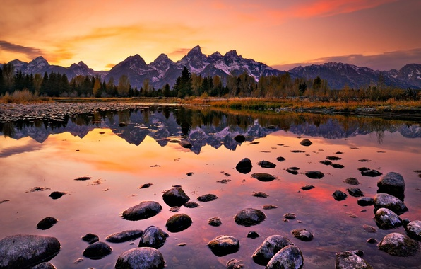 Picture landscape, sunset, mountains, lake, stones