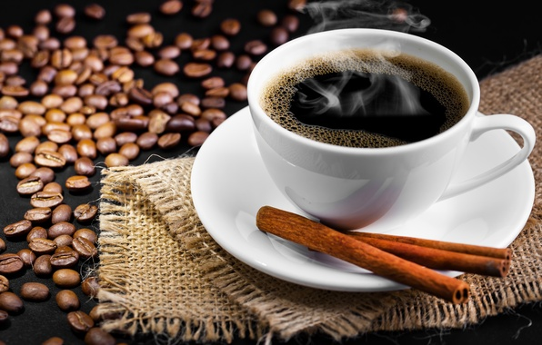 Picture table, Cup, drink, grain, coffee, saucer, smoke, cinnamon