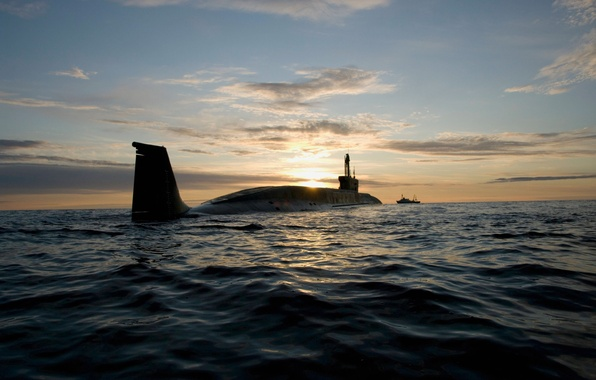 Picture sea, sunset, Russia, submarine, project 955
