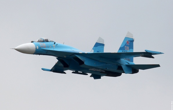 Picture Russian, multipurpose, Flanker, Su-27, weatherproof, The Russian air force, the fourth generation fighter, highly maneuverable