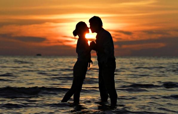 Picture sea, love, sunset, kiss, pair, love, sunset, people, kiss, romantic, couple