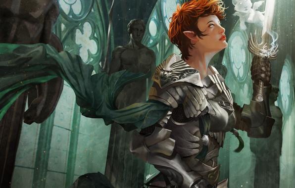 Picture girl, elf, spirit, sword, warrior, art, temple, statue, red, armor