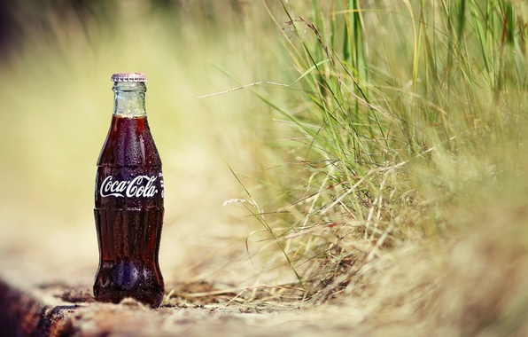 Picture sand, grass, drops, background, Wallpaper, bottle, plants, drink, Coca-Cola, wallpapers, Cola, Coca-Cola, soda