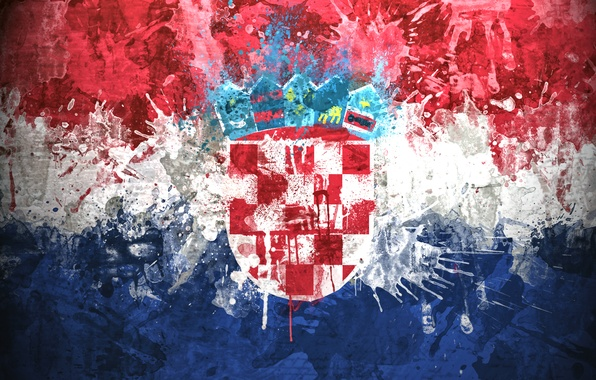 Picture paint, flag, coat of arms, Croatia, The Republic Of Croatia, The Republic Of Croatia