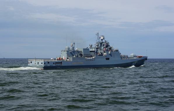 Picture sea, the sky, ship, frigate, head, project 11356, guard, Admiral Grigorovich