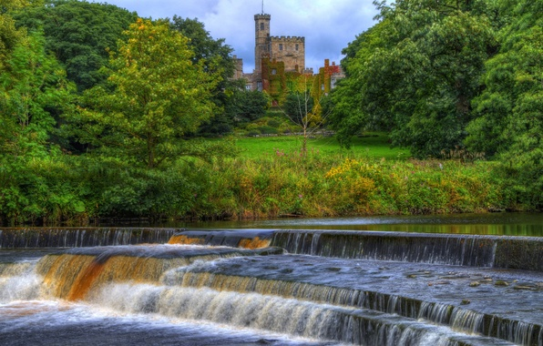 Picture forest, trees, Park, river, castle, England, stream, tower, thresholds, Hornby castle
