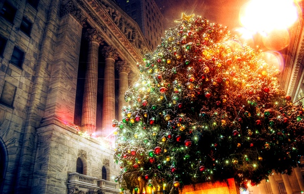 Picture decoration, lights, holiday, the building, tree, new year, Christmas, light