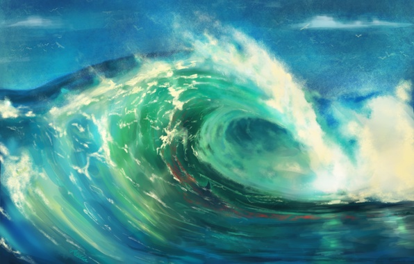Picture sea, water, Dolphin, element, wave, art