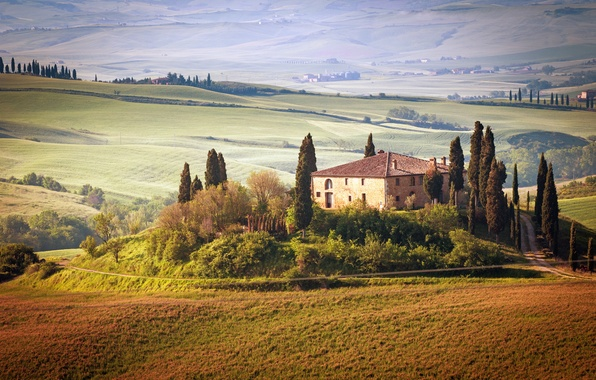 Picture summer, the sky, trees, landscape, nature, house, Italy, summer, house, Landscape, sky, trees, Italy, nature, …
