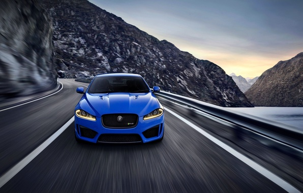 Picture Jaguar, Auto, Blue, The hood, Sedan, Lights, XFR-S
