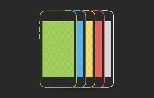Picture Apple, iPhone, Red, Blue, Green, White, Yellow, Hi-Tech, Colors, Smartphone, Minimalistic