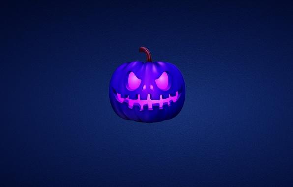 Picture blue, Halloween, pumpkin, Halloween