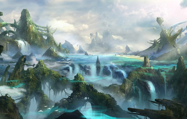 Picture mountains, birds, river, rocks, thickets, waterfall, art, fantasy world