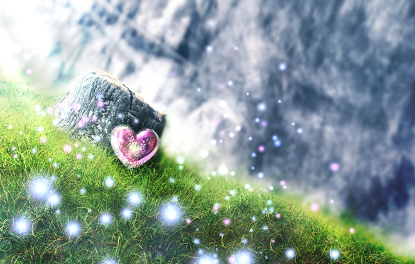 Picture grass, stump, hill, art, sparks, heart, and-k