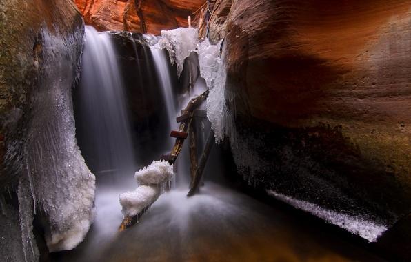 Picture ice, icicles, ladder, cave, Utah, USА, Kanarraville
