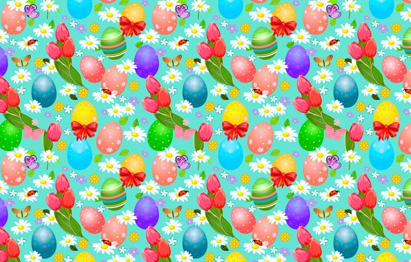 Picture butterfly, flowers, chamomile, eggs, Easter, bugs, tulips, bows