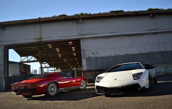 Picture white, red, the building, red, white, lamborghini, front view, rear view, murcielago, Lamborghini, Miura, Murcielago, …