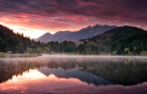 Picture forest, mountains, nature, lake, dawn, morning, Landscape