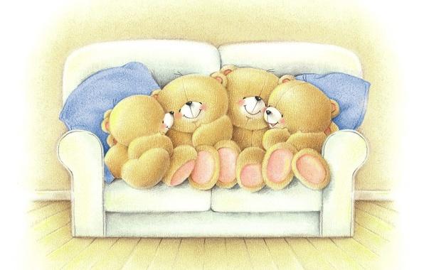 Picture mood, the evening, family, art, bear, the conversation, children's, Forever Friends Deckchair bear