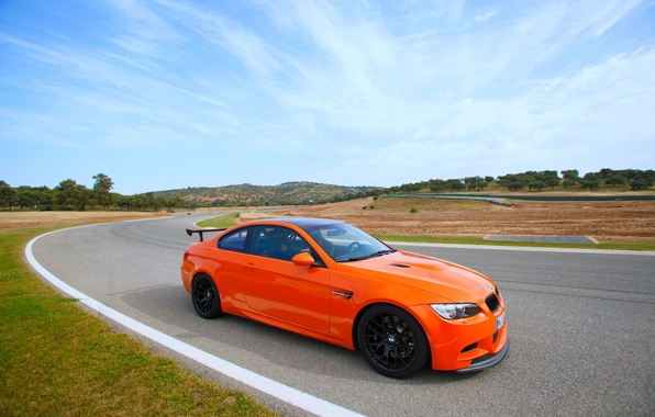 Picture The sky, Auto, Road, BMW, Wheel, Boomer, BMW, Orange, Track, GTS, Side view