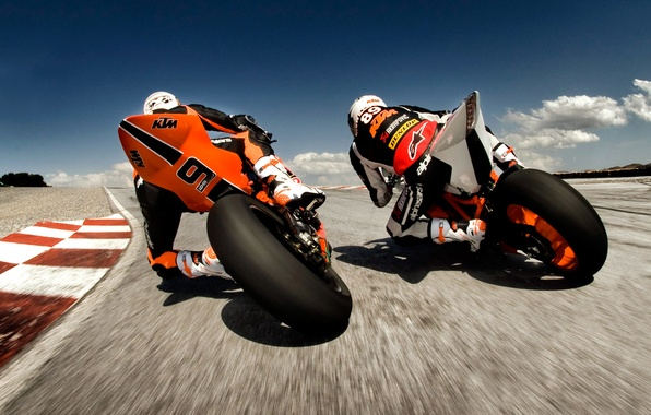 Picture motorcycles, speed, track, racers