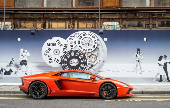 Picture orange, wall, profile, lamborghini, the sidewalk, orange, image, aventador, lp700-4, Lamborghini, aventador, the curb