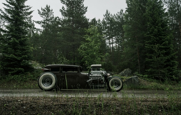 Picture Road, Chevrolet, Forest, Wet, Hot Rod, Chevy, Rat Rod, Side, 540ci, Roadside