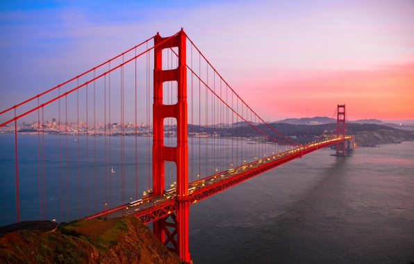 Picture road, water, sunset, bridge, the city, lights, the evening, highway, CA, Bay, San Francisco, Golden …