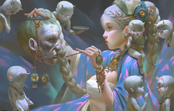 Picture girl, face, fantasy, spirit, head, mask, Ghost