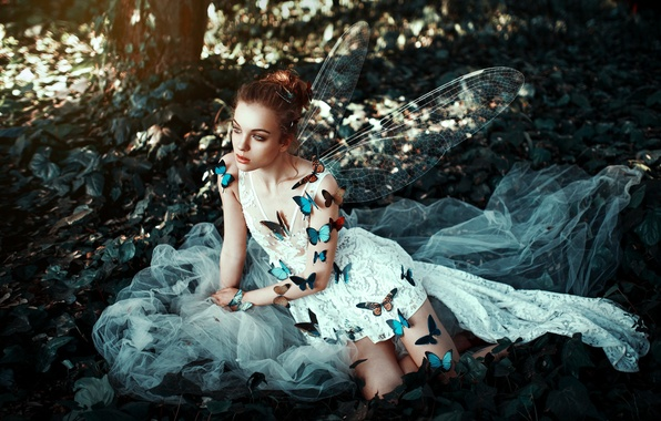 Picture girl, butterfly, face, style, background, wings, dress