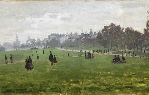 Picture grass, trees, Park, people, stay, London, picture, walk, picnic, Claude Monet