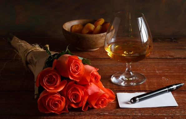 Picture sheet, glass, roses, handle, red, cognac, dried apricots