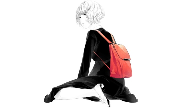 Picture girl, sitting, art, sawasawa, red backpack