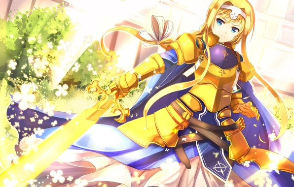 Picture Flowers, Girl, Armor, Sword, Underworld, Art, Sword Art Online, SAO, Alice Synthesis Thirty, Sakura Ani, …