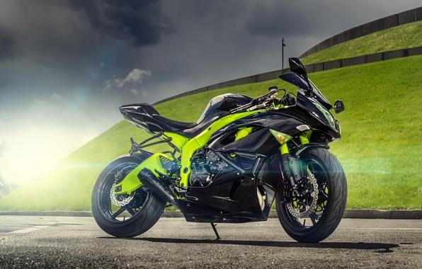 Picture the sun, photographer, ninja, Kawasaki, Blik, Kawasaki, motorcycle, Ninja, sport bike, ZX-6R, sport bike, Maxim …
