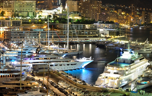 Picture city, home, yachts, the evening, port, Monaco, night, Monaco, Monte Carlo, Monte Carlo, lights.
