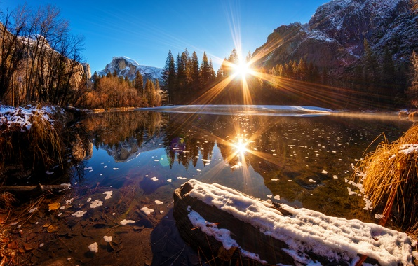Picture forest, water, snow, mountains, reflection, CA, USA, the rays of the sun, Yosemite national Park, …